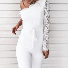 New Arrival Women Patchwork Sexy Lace Jumpsuits Spring Lace-Up One Shoulder Long Sleeve White Rompers