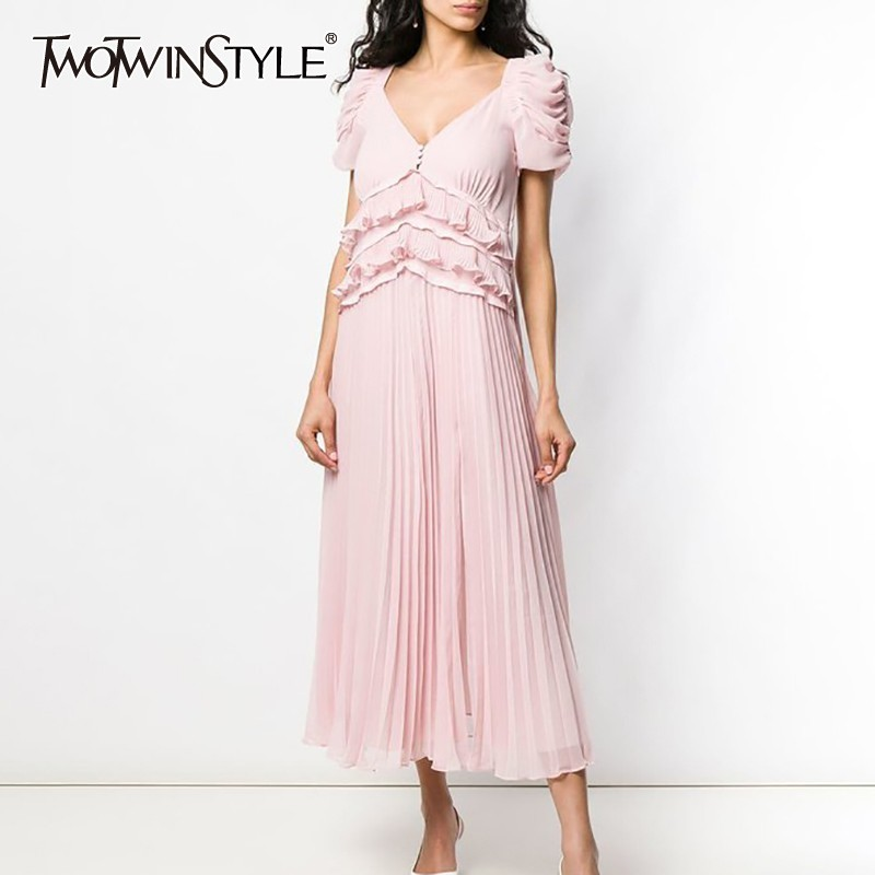 TWOTWINSTYLE Spring Casual Solid Ruffles Women Dress V Neck Puff Sleeve High Waist Pleated Midi Dresses