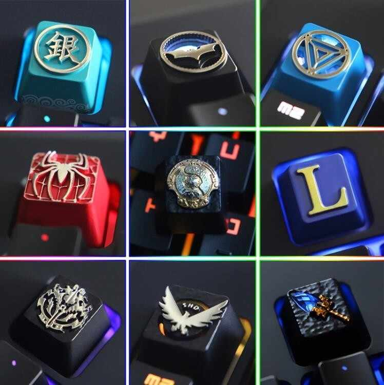 1pc Zinc Aluminium Alloy Key Cap Mechanical Keyboard keycap for Marvel LOL DOTA 2 Overwatch R4 Height Stereoscopic relief