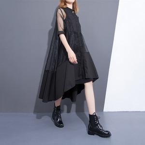 Image 2 - [EAM] 2020 חדש קיץ צווארון עומד שלושה רובע שרוול שחור Oragnza רשת תפר רופף שתי חתיכה שמלת נשים אופנה T456