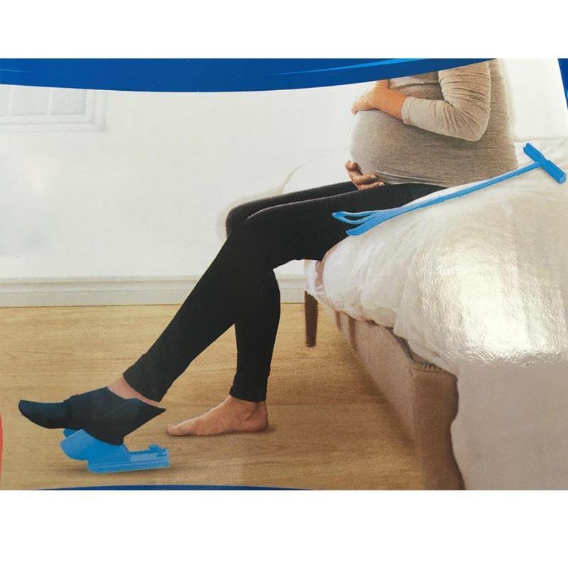 Pregnant Elder Sock Wear Shoe Horn Device Easy on off Sock Aid Kit Shoe Horn Device No Bending Stretching Straining sock slider aid blue helper kit help