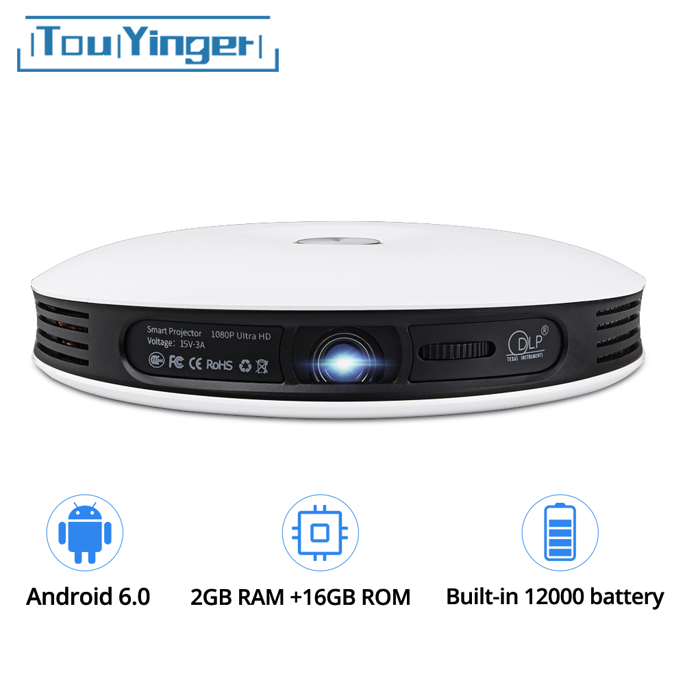 TouYinger G4 200'' Android 2D to 3D Mini DLP Projector Full HD 4K video wifi Bluetooth HDMI LED Portable Home cinema USB Beamer