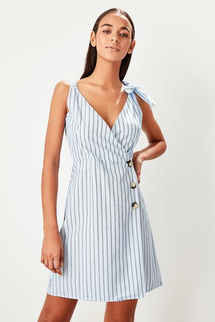 4453bef3fffcc US $22.65 49% OFF|Trendyol Blue Striped Dress TWOSS19OA0046-in Dresses from  Women's Clothing on Aliexpress.com | Alibaba Group