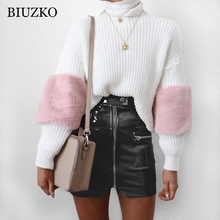 BIUZKO Women Sexy PU Leather Skirt Summer High Waist Short Wrap Skirts Pencil Skirt