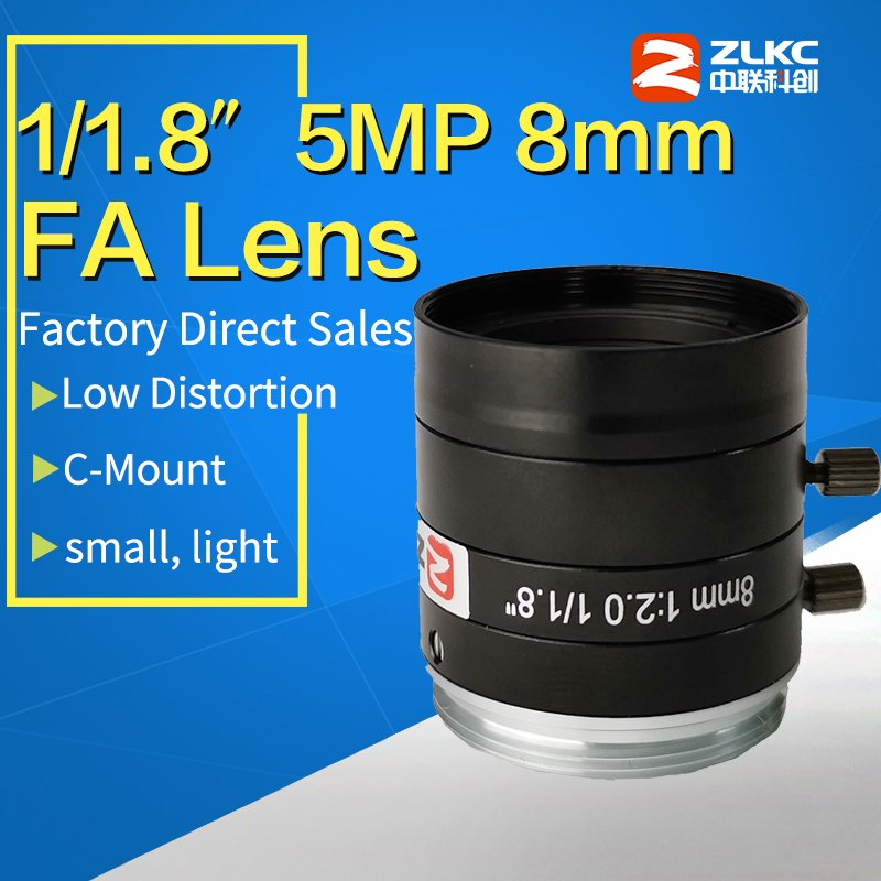 C Mount 8mm manual lris HD lens for 1 1 8 FA High performace for 5