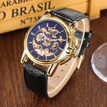 WINNER Watches Men Sport Watch Man Luxury Skeleton Watch Mechanical Army Military Leather Band High Quality Wristwatches for Men
