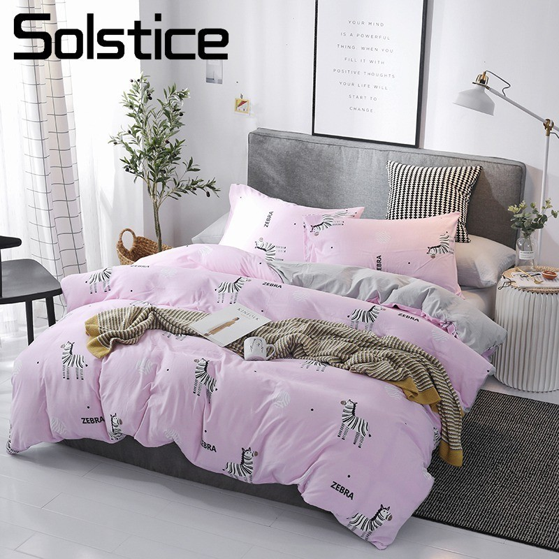 Solstice Home Textile Bedding Sets Pink Zebra Solid Gray Duvet Cover Pillowcase Flat Sheet Girl Kid Woman Bed Linen Double QueenSolstice Home Textile Bedding Sets Pink Zebra Solid Gray Duvet Cover Pillowcase Flat Sheet Girl Kid Woman Bed Linen Double Queen