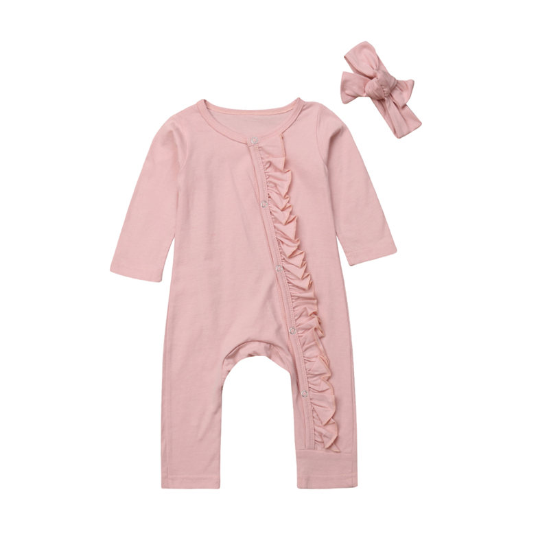 Toddler Baby Girls   Romper   Newborn Infant Kids Autumn Long Sleeve Ruffles Cotton   Romper   Jumpsuit Headband Outfit Pajama Clothes