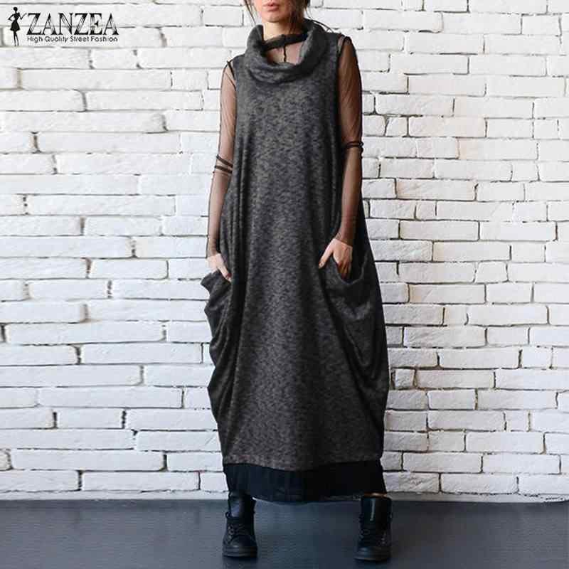 2019 ZANZEA женское винтажное длинное платье без рукавов с воротником-хомутом, летнее женское платье с карманами, комбинезоны, свободные сарафаны, Vestido Robe