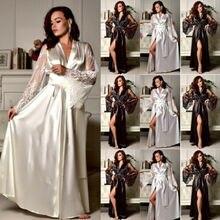 Женский однотонный сексуальный Шелковый Атласный кружевной халат с длинным рукавом и глубоким v-образным вырезом, Пижама, халат, нижнее белье, ночное белье