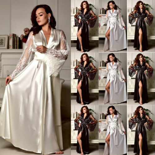 Womens Solid Sexy Silk Satin Lace Long Sleeve Deep V Bathrobe Pajamas Robe Lingerie Sleepwear Nightwear