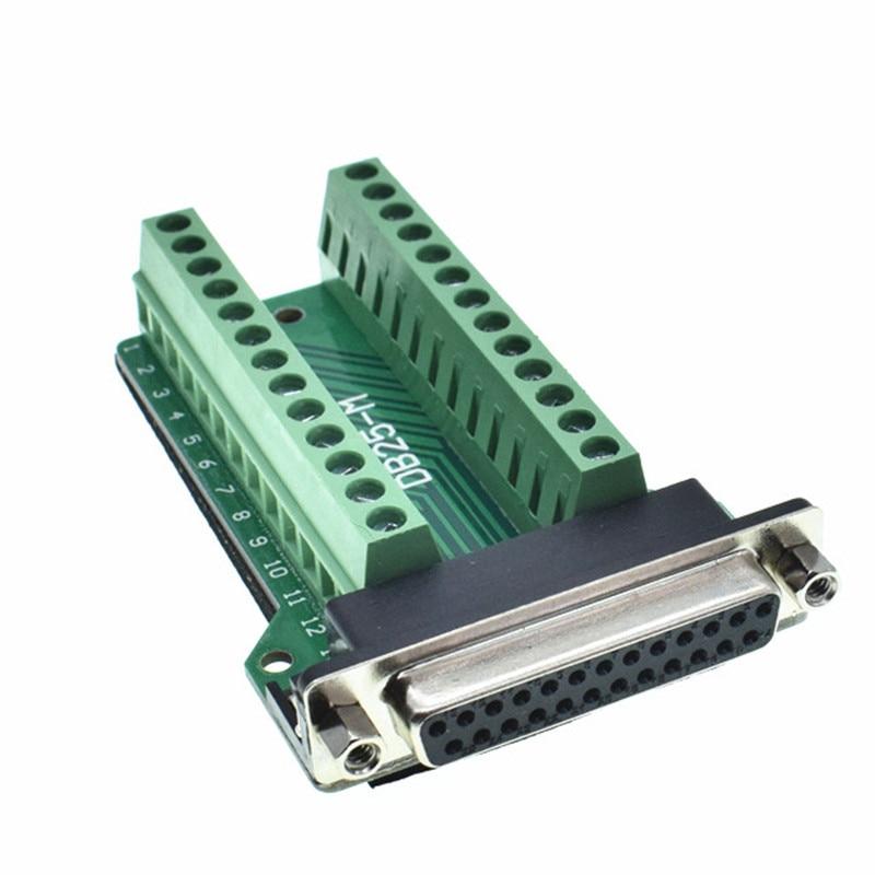 DB25 D-SUB Female 25Pin Plug Breakout PCB Board 2 Row Terminals Connectors