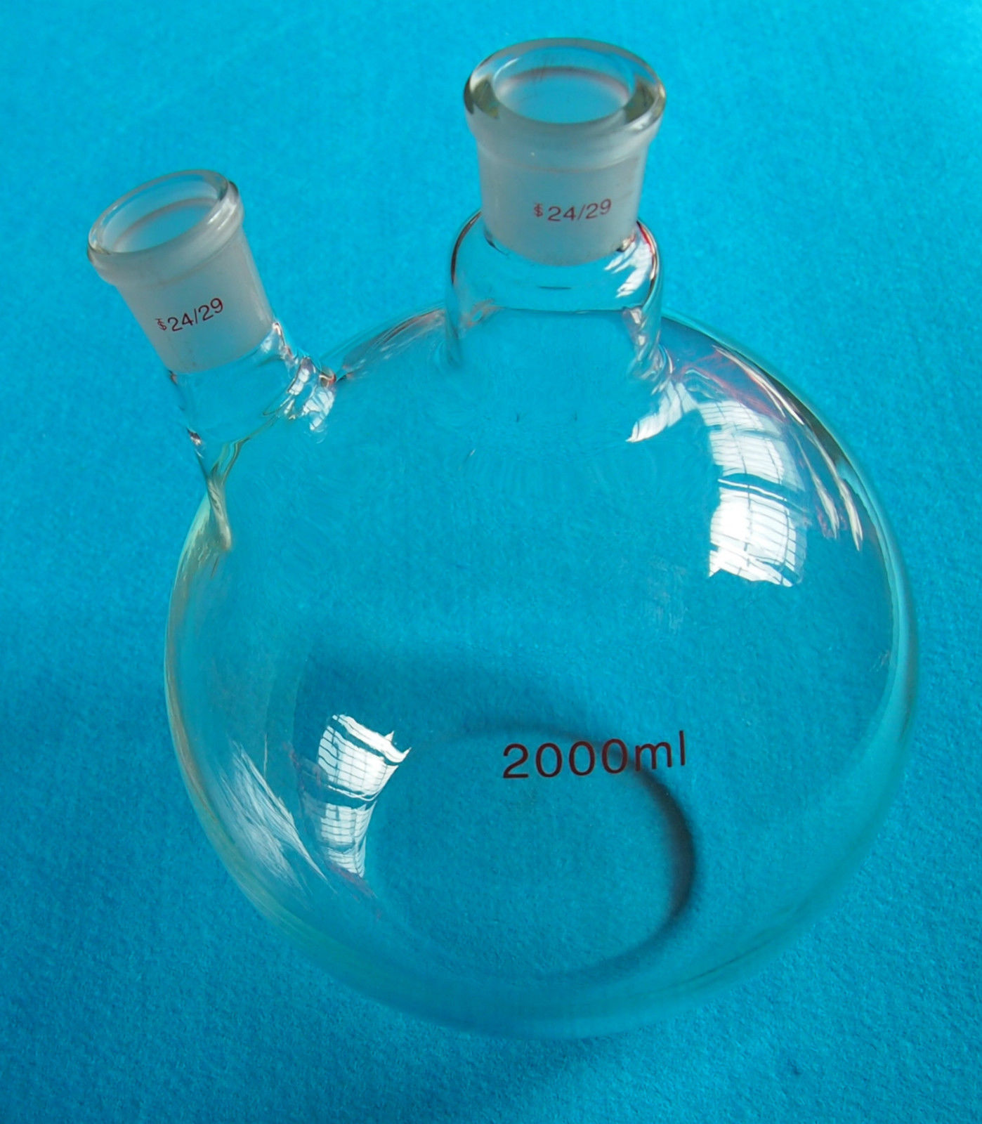 3000ml 24 40 2 Neck Plat Bottom Glass Flask 3L Twins Necks Lab Chemical Vessel