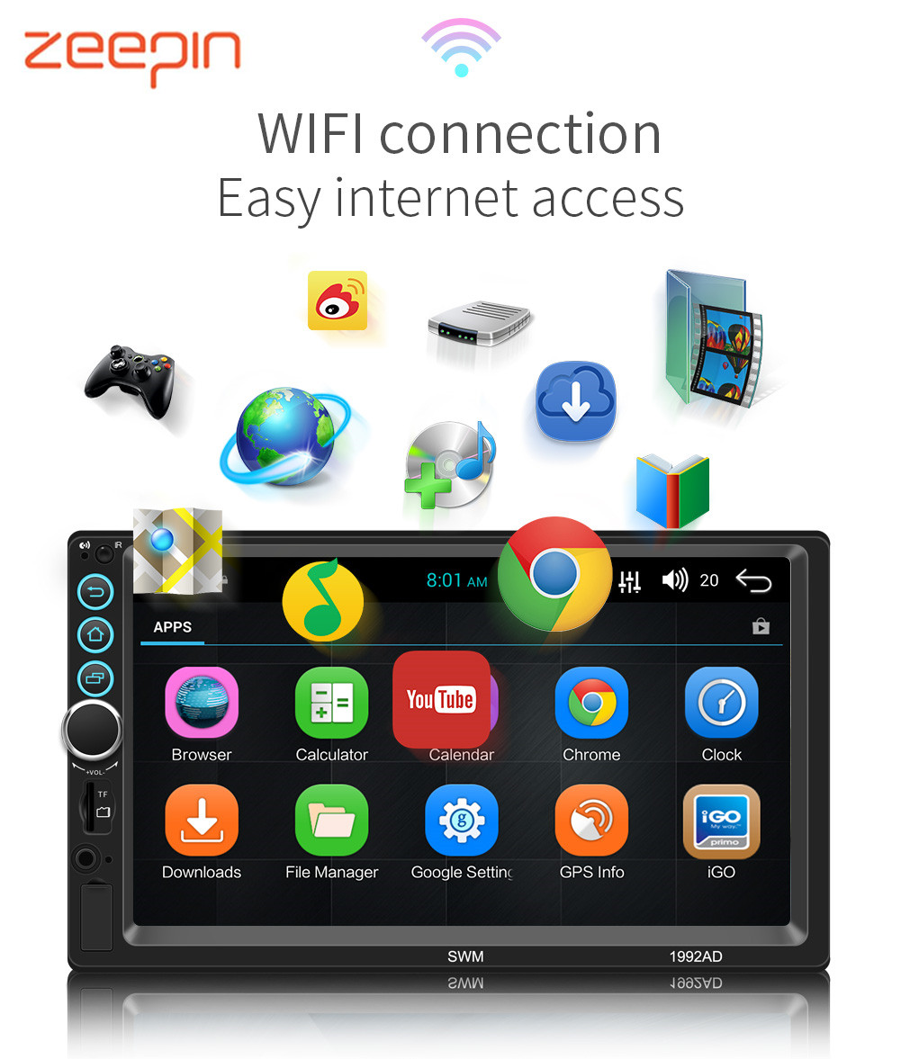 GPS Navigation WiFi Car Multimedia Player 2din FM Stereo Audio Auto Radio 7'' Car MP5 Player Cam for Bluetooth Aux USB