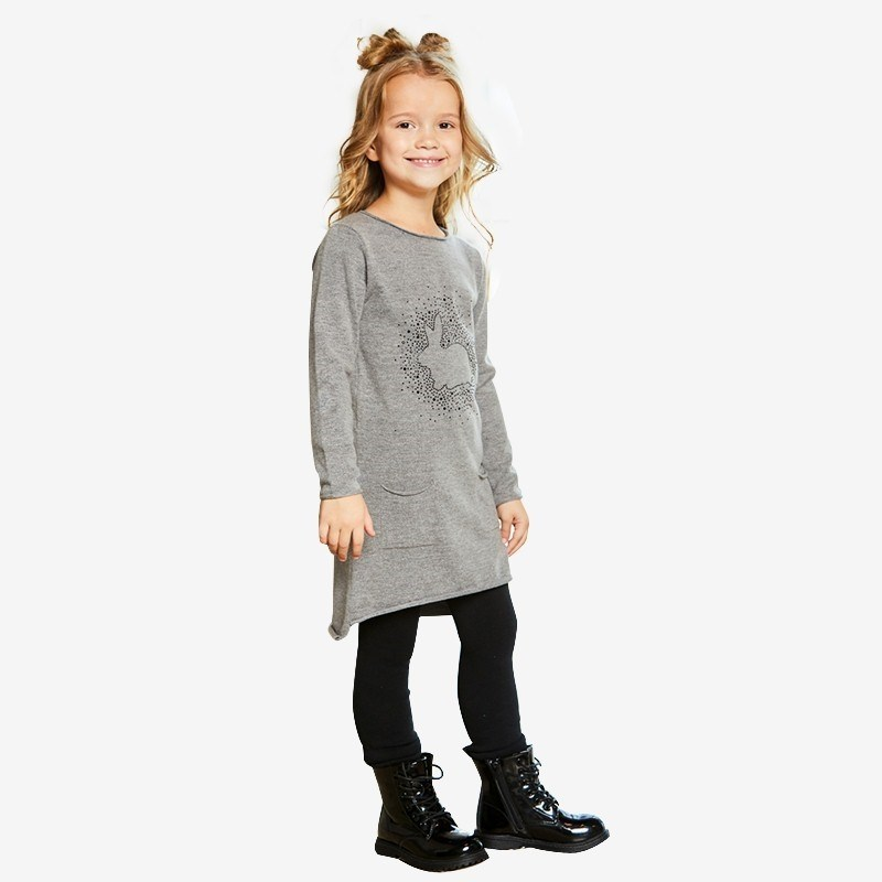 Dresses Sweet Berry Knitted dress for girls children clothing girls tie neck polka dot dress