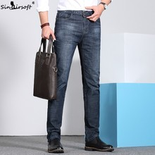 Spring And Summer Jeans Men's High Quality Denim Pants Soft Pants Cotton Fashion Large Size 28-38 Business Casual Straight Pants недорго, оригинальная цена