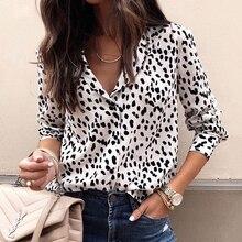 Модная женская леопардовая блузка с длинным рукавом, рубашка с v-образным вырезом, женские вечерние топы OL, женская уличная блуза, элегантные блузки размера плюс