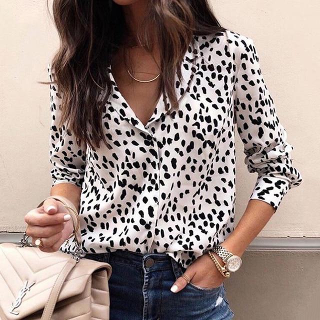 Fashion Women Long Sleeve Leopard Blouse V neck Shirt Ladies OL Party Top Dames Streetwear blusas femininas elegante Plus Size 1