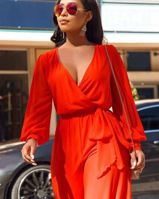 Summer Women Deep V Neck Jumpsuit Solid Long Sleeve Long Romper Casual Loose Lace Up Sexy Jumpsuit