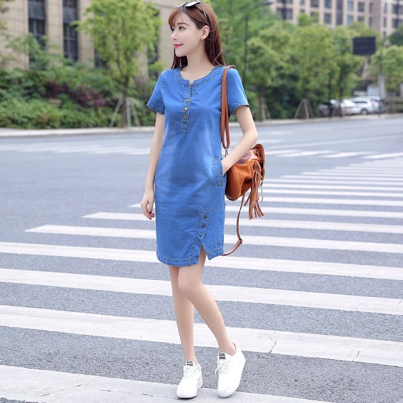 BOodinerinle Coréenne Plus La Taille Denim Robe Pour Les Femmes Robe D'été 2019 Casual Avec Bouton Poche Sexy Mini Jeans Robe 3xl 4
