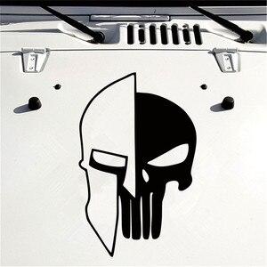 Image 5 - 1 ピース黒 60 × 38 センチメートルパニッシャー skull ビニール車の自動車ドアフード車のステッカー