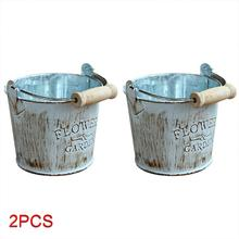 2 uds hogar Vintage Chic Artesanía de metal cuerdas de cáñamo cordones Twined cubos de hierro decoración de macetas ornamentos suculentas plantas almacenamiento