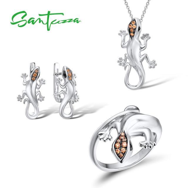 SANTUZZA Conjunto de joyería de plata de ley 925 con forma de lagarto, anillo y pendientes de color champán con zirconia cúbica, para mujeres