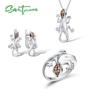 Image 1 - Женский комплект украшений SANTUZZA, кольцо и сережки в виде ящерицы из серебра 925 пробы с кубическим цирконием цвета шампанского, модные ювелирные украшения для вечеринки