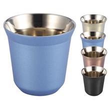 85 мл многоразовая кофейная кружка с двойными стенками из нержавеющей стали для воды, чая, кофе, чашки для виски, молока, кружки для путешествий, кемпинга