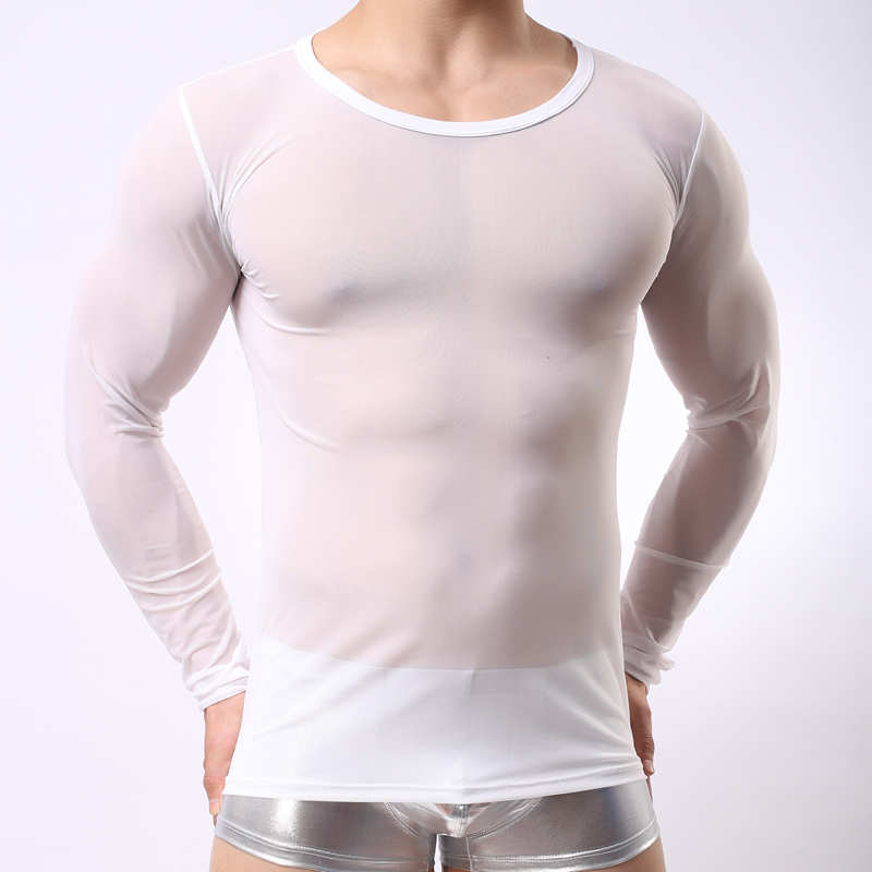 <font><b>Men's</b></font> Close-Fitting Undershirt Sexy See Through Sheer <font><b>Mesh</b></font> <font><b>Long</b></font> Sleeve T-<font><b>shirt</b></font> Breathable Slim Stretch Underwear Undershirts New image