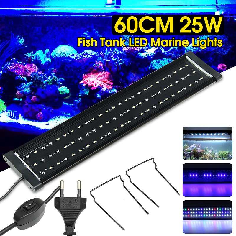 110 V-220 V aquarium 25 W 60 cm 2 Modes lumière LED d'aquarium plante croissance lumière lune étanche lampes