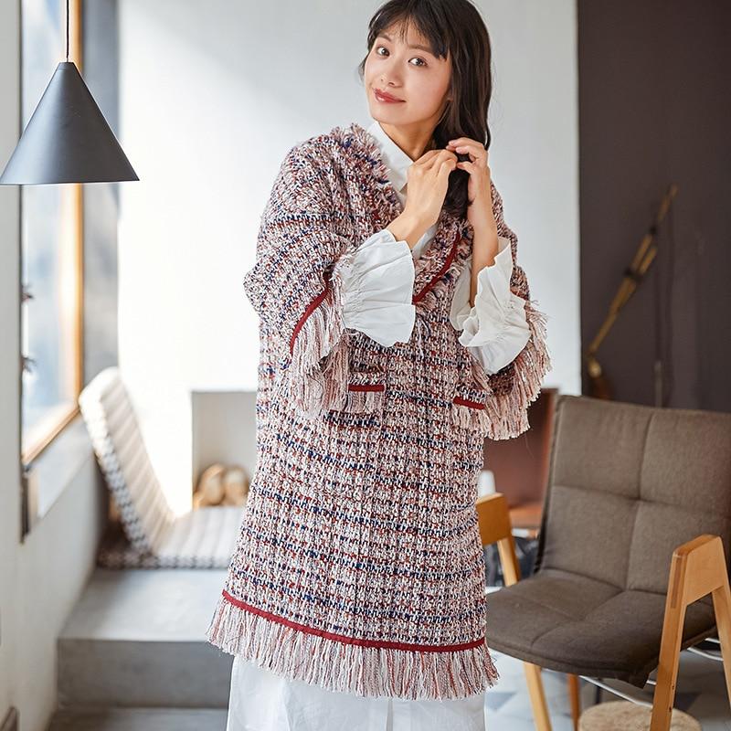 Femmes Nouvelle Lanmrem Longues 2018 Pour De Mode Yf17303 Red V Vêtements Manches À Col Knit Lâche Robe Gland Féminine Personnalité Occasionnel FqTqCwx5r