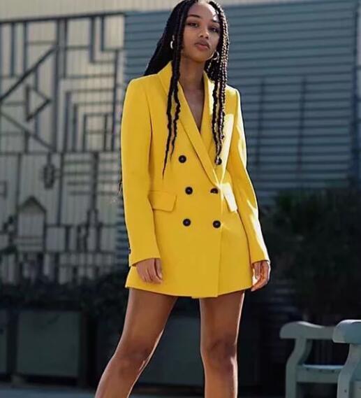 2019 femmes Double boutonnage Long Blazers bureau dame petit costume veste dames loisirs jaune Blazer lâche manteau Streetwear 2