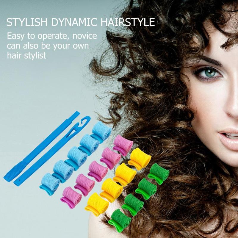 18pcs Women's Wigs Sale Curling Tools  Plastic Hair Roll Water Bigoudis Ripple Magical Hair Curlers Rollers PVC + Elastic Net