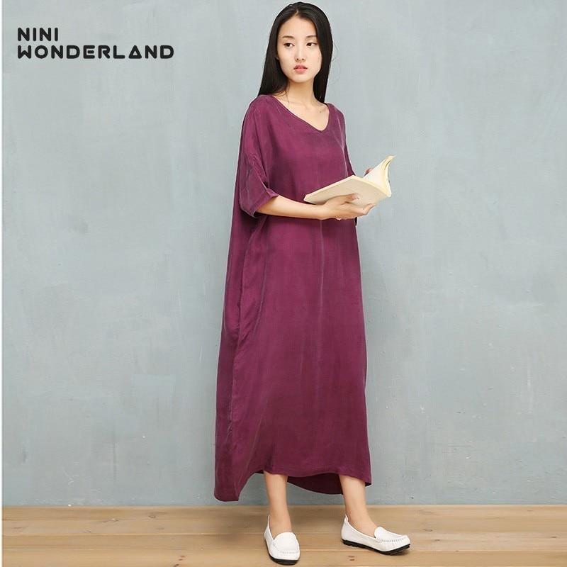 NINI WONDERLAND 2019 Summer Dress Female Cupro And Silk Classic Dress Women V Neck Batwing Sleeve