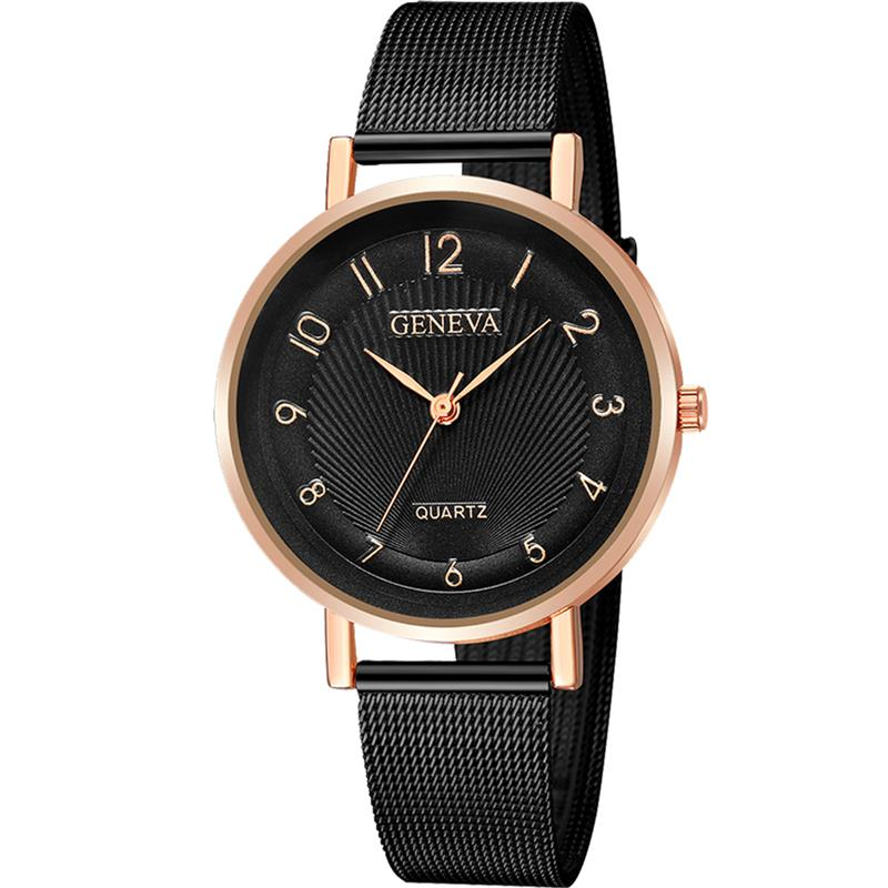 Shaarms Fashion Quartz Women Watches Rose Black Waterproof Steel Bracelet Ladies Watch Clock Women Montre Femme An Enriches And Nutrient For The Liver And Kidney Watches