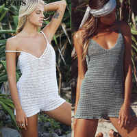 Summer Womens Swimwear Bikini Set Cover-Ups Sexy Strap Lace Up Beach Dress Swimwear Lace Crochet Bikini Cover Up BathingSuit