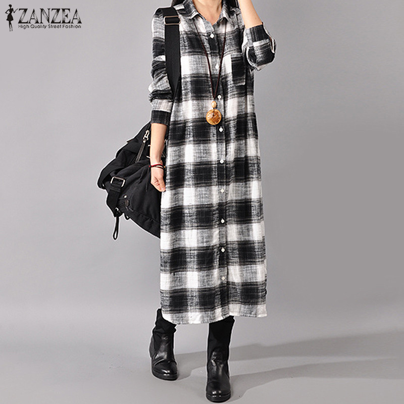 7654707c9e980 VONDA Long Shirt Dress Women 2019 Autumn Casual Lapel Neck Long ...
