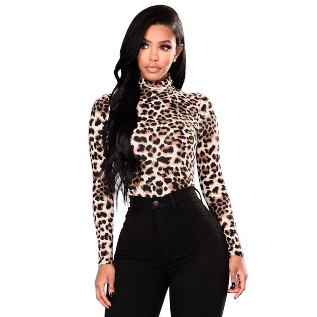 e72f9153eff Sexy Leopard Print Blouses Women Cotton Turtleneck Basic Tops Autumn Spring  Elstic Slim Ladies Shirt Tee Party Club Blouse Blusa