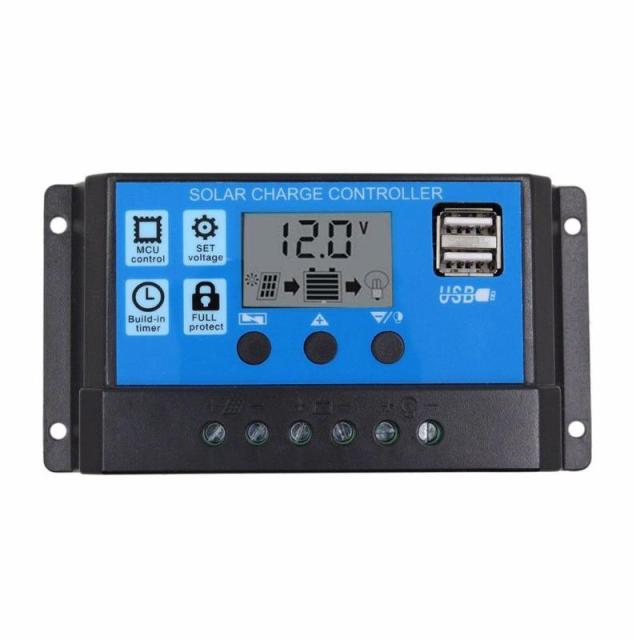 1Pcs  12V/24V HD LCD Auto Work Solar Charge Controller PWM Dual USB Output Solar Cell Panel Charger Regulator 10/20/30A