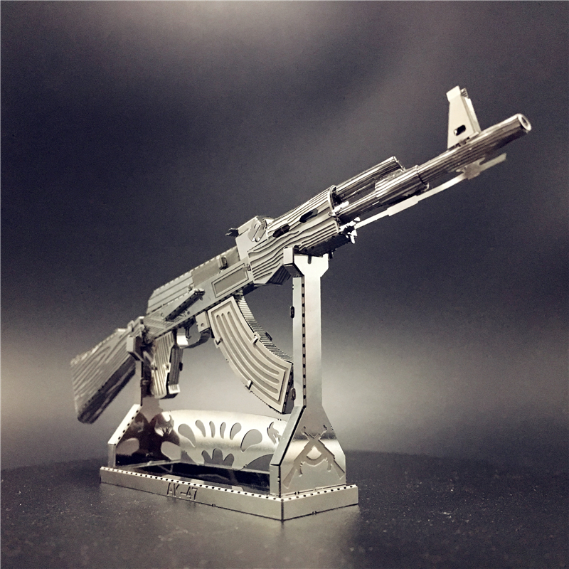 MMZ MODEL Nanyuan 3D Metal Puzzle AK47 Beretta 92 Gun Weapon Building Model Kit DIY 3D Laser Cut Jigsaw Toy For Adult