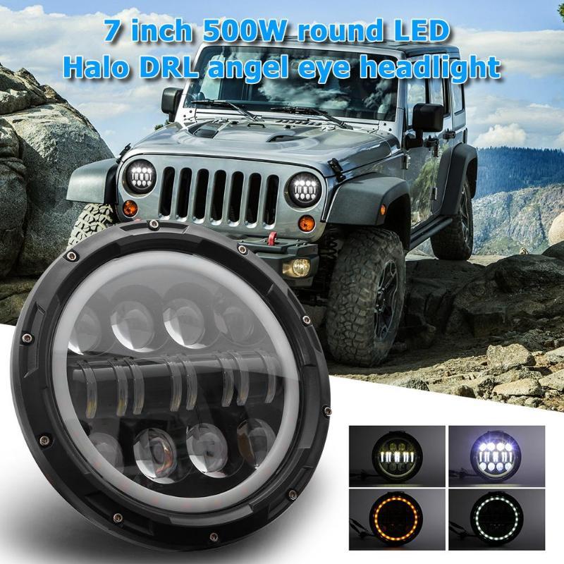VODOOL Car Lights Headlight Accessories 7 Inch 500W Round LED Headlight Angel Eye Light For Wrangler Car Truck SUV Lights Lamp