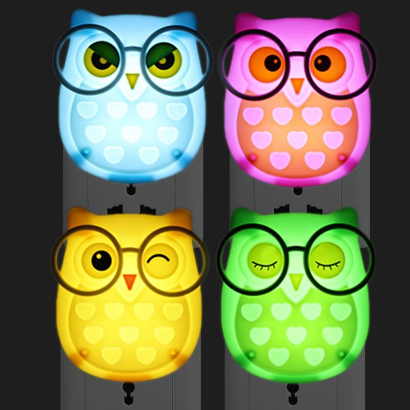 LED Night Light Energy Saving Socket Lamp Animal Nightlight Auto Light Control Sensor Lamp Owl EU Plug Indoor Lighting