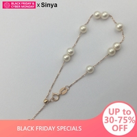 Sinya 18k gold Chain bracelets with natural pearls gold beads for women girls Mum lover length 18cm can adjustable Hot sale