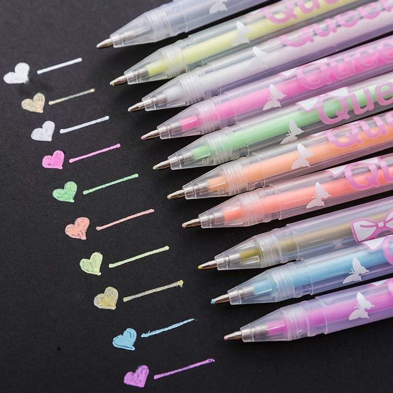 1 Set 12 Colors Rainbow Color Gel Pen Pens DIY Album Photo Decoration Highlighter Marker Pen Gel Pen Office Supplies 04071