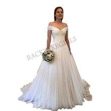 Simple Elegant Off-the-Shoulder Wedding Dresses 2019 V-neck