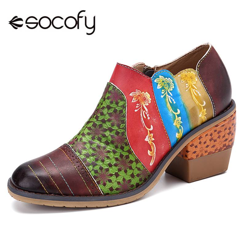 SOCOFY Vintage Flowers Pattern Splicing Colorful Genuine Leather Stitching Zipper Pumps Party Wedding Ladies Shoes Woman PumpsSOCOFY Vintage Flowers Pattern Splicing Colorful Genuine Leather Stitching Zipper Pumps Party Wedding Ladies Shoes Woman Pumps