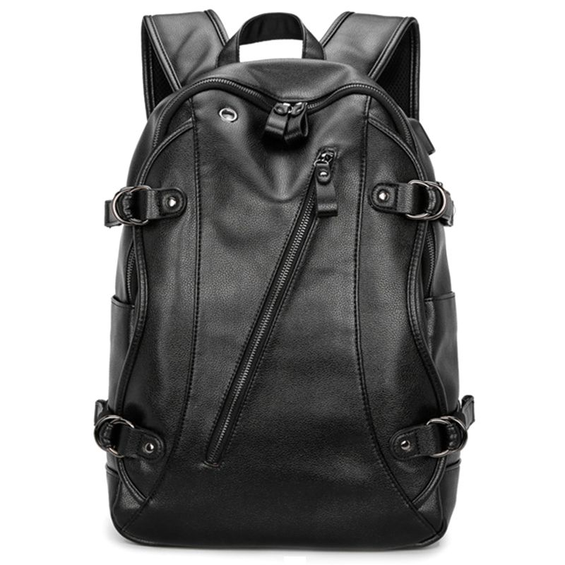 Mens Backpack, PU Leather College Travel Backpack Laptop Bag with Headphone USB Charging Ports, BlackMens Backpack, PU Leather College Travel Backpack Laptop Bag with Headphone USB Charging Ports, Black