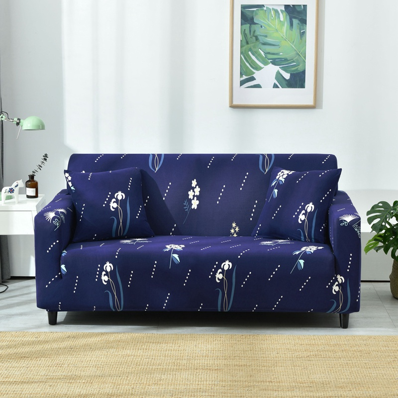 Blue Flexible Couch Sofa Cover White Floral Print Pastoral