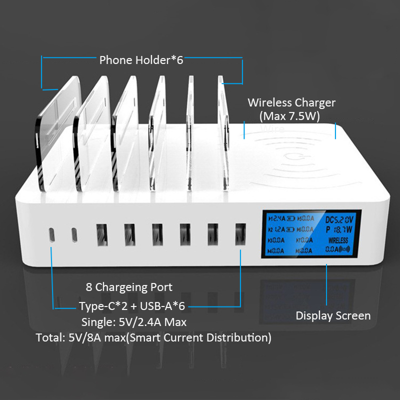 8A Multi USB Charger HUB Desktop Qi Wireless Charger Pad LED Display Universal 8 Ports Multiple